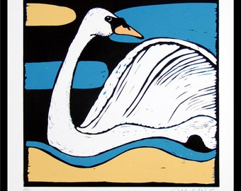 linocut, swan, stylized print, bird print, swan art, blue and yellow, modern art, printmaking, mariann johansen-ellis, sea, water, beach