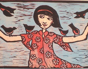 a color linocut  by Mariann Johansen-Ellis - Red Robins