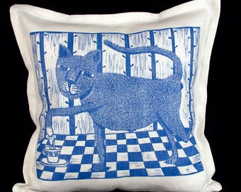 linocut, decorative pillow cover, Cat, blue and white, cushion cover, linen fabric, textile art, kitty, cup of tea, printmaking, hand made