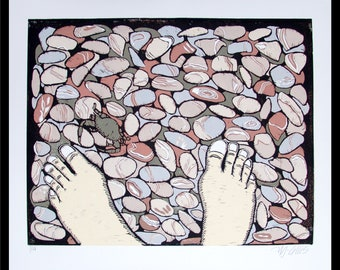 linocut, barefoot, beach pebbles, beach, bare feet, natural colors, pastels, nature print, printmaking, modern art, crab, seaside, ocean