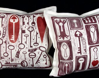 cushion covers, handprinted with linocuts, set of 2 covers, Mariann Johansen-Ellis, hearts, key to my heart, romantic gift