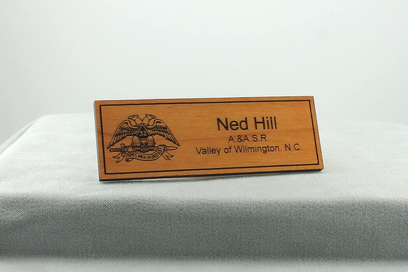 Scottish Rite Name Tag Badge Small- Wood AASR