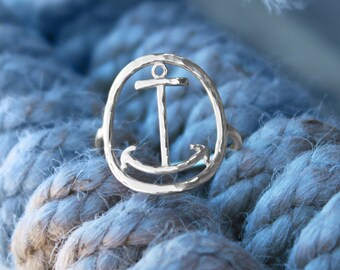 Anchor Ring - Sterling Silver - Anchor Jewelry - Nautical Jewelry - Nautical Ring