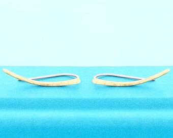Wave Crest Ear Climbers - Gold or Sterling Silver - Wave Jewelry - Nautical Jewelry - Coastal Jewelry - Beach Jewelry - Wave Earrings