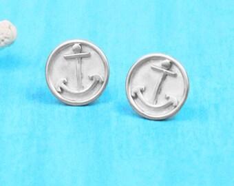 Anchor Earrings - Stud Earrings - Sterling Silver - Anchor Jewelry - Nautical Jewelry - Coastal Jewelry - Silver Anchor Earrings
