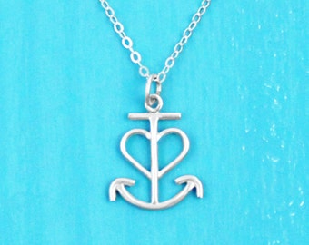 Anchored Love Necklace - Sterling Silver - Anchor Necklace - Anchor Jewelry - Nautical Jewelry - Heart Necklace