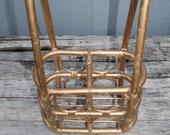 Bamboo wine caddy wine basket, wine rack, two bottle wine bottle caddy, wine bottle rattan basket, mid century modern rattan bamboo basket