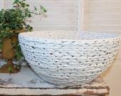 Extra Large bowl, Farmhouse storage basket, Shabby chic basket, large white banana leaf woven country style bowl Nordic French cottage decor