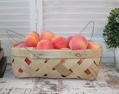 Natural Chipwood peach basket with wire handles, farmhouse style peach basket farm fresh produce basket carrier display French country decor