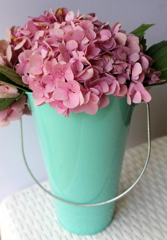 French Flower Bucket Tall Galvanized Metal Vase For Farmhouse Etsy