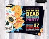 Halloween Invitation, Day Of The Dead Invite, Costume Party Invitaion, Día De Muertos, Sugar Skull WaterColor Invitation, Cute Skull Invite