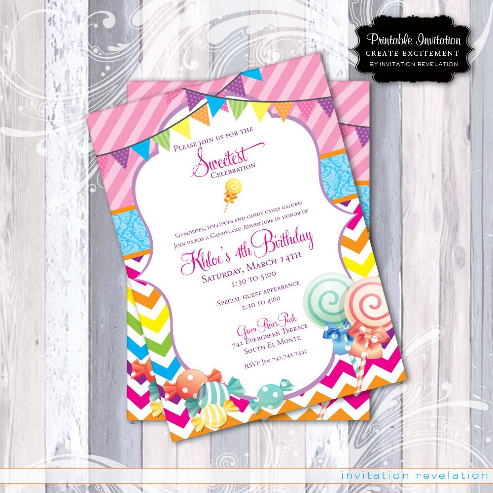 Candy Candyland Party Invitation Printable Invitation | Etsy