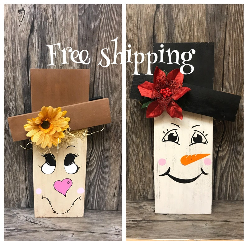 Reversible Scarecrow Snowman Wooden Outdoor Reclaimed Wood Sign