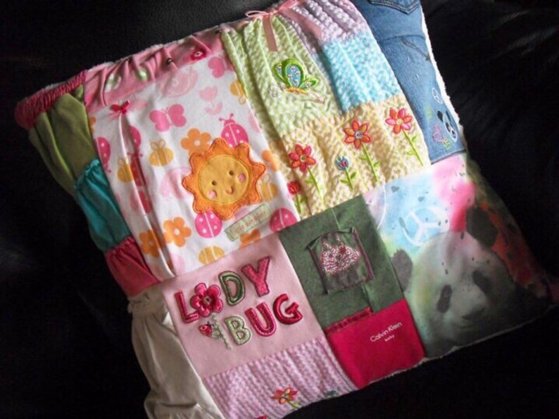 Custom quilt pillow Baby clothes quilt pillow CUSTOM Made pillow from your little one/'s clothing.