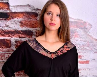 EXPRESS XL jersey top BIRGIT black flowers lace Sale