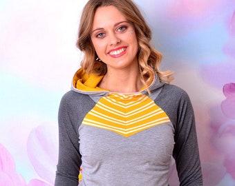 hoodie CLARA heather grey & yellow striped raglan sleeves by STADTKIND POTSDAM