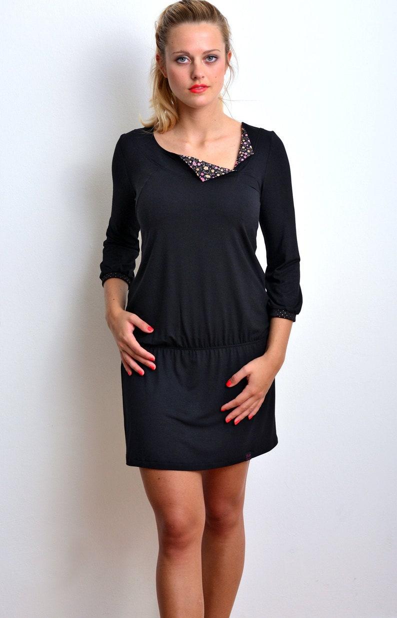 Damen Jersey Kleid schwarz Blumen von STADTKIND POTSDAM | Etsy