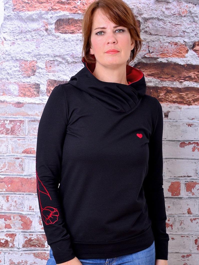 womans hoodie MANUELA black heart flower by STADTKIND POTSDAM