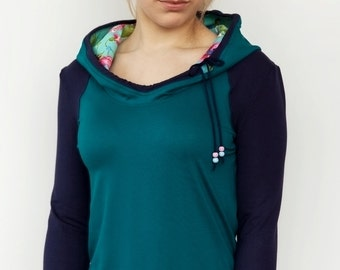 hoodie - turquoise and blue - flowers - pearls