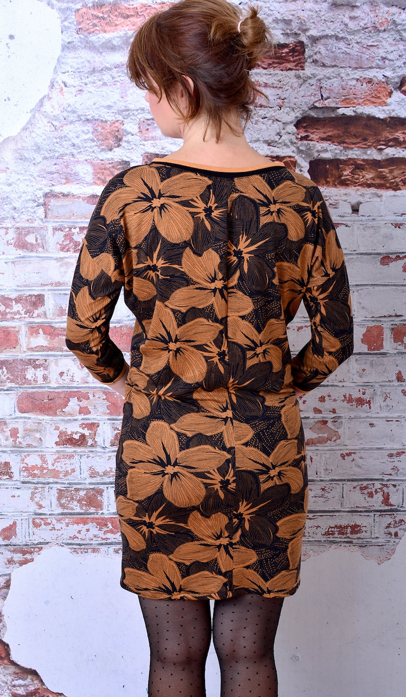 EXPRESS S womans dress DANIELA black /& brown flowers blossoms by Stadtkind Potsdam