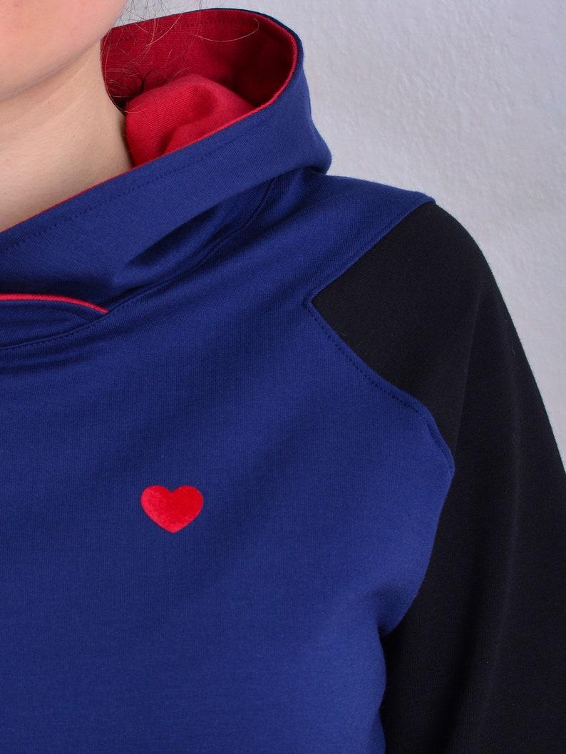 womans hoodie URSULA blue black red heart raglan sleeves by STADTKIND POTSDAM
