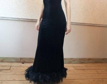 9a9574a313e732 jaren 90 zwart Stretch fluweel Maxi jurk met Struisvogel veren maat S M  gemaakt in Italië