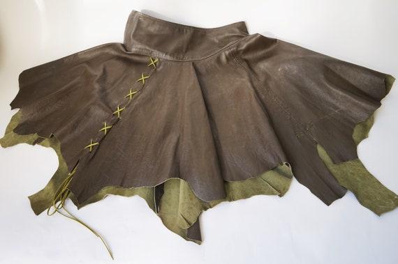 Leather Pointy Vintage Skirt  Dark Green Genuine l