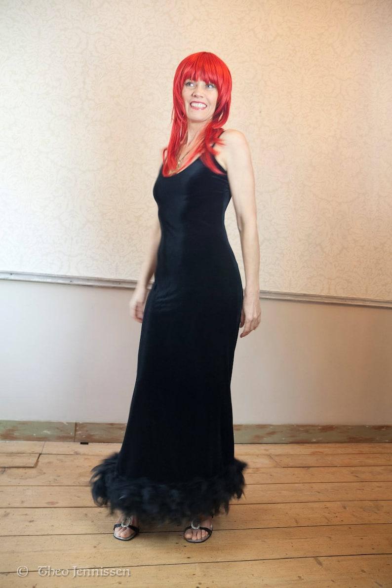 2b6b172b66 90s Black Stretch Velvet Maxi Dress with Ostrich Feathers | Etsy