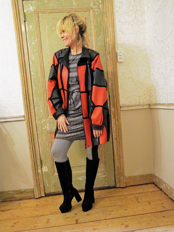 Patchwork Leather 1980s vintage Coat Jacket / Red