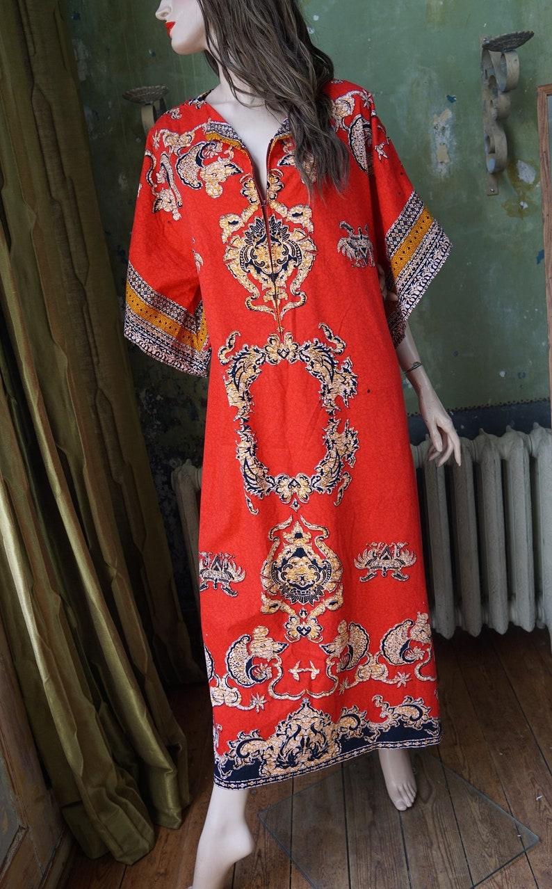 438a83e156 Vintage African Tribal Kaftan Hippie Bohemian Cotton Red Maxi | Etsy