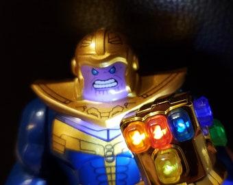 Thanos Minifigure with Handmade LED Infinity Gauntlet - Marvel Avengers Super Heroes - Lego Size