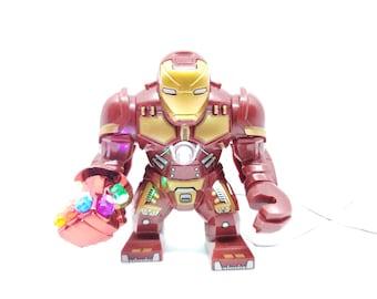 Hulkbuster Minifigure with LED Light Up Nano gauntlet – Endgame infinity war - Lego size