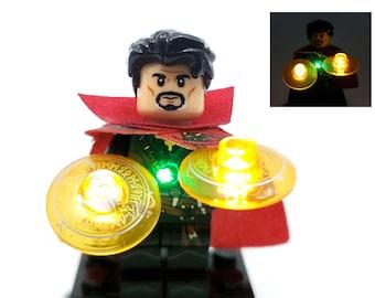 BlingBlingBrick - Dr. Strange Minifigure with LED Light Up Eye of Agamotto - Lego Size