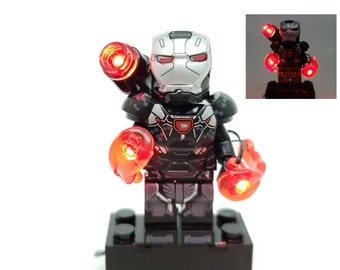 BlingBlingBrick – War Machine Lightup Minifigure with Heavy Armor – Marvel - Lego Size