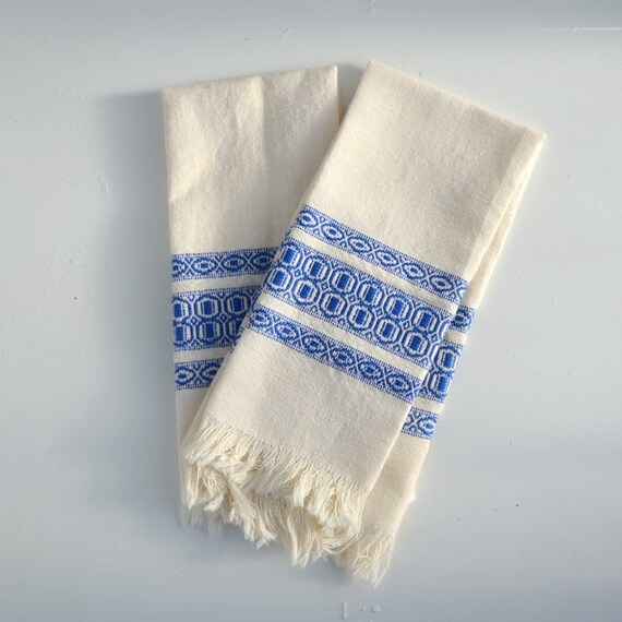 Retro Kitchen Linens: Vintage Kitchen Towels Linens Set Of 2 Off White Blue