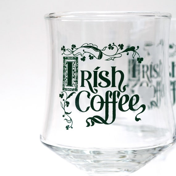 Irish Coffee Glasses Green And Etched Shamrock Clover Leaves Set Of 6 Footed Glasses Vintage Barware St Patricks Day Holiday Drinkware