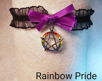 Pentacle Pride Rainbow Lolita Collar Necklace Black Stretch Lace Ruffle Choker with Bow Cosplay