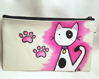 Dalmatian Kitty Cat Hand Painted Zipper Pouch