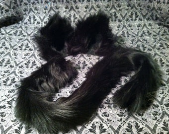 Kitty Cat Ears Clip on / Barrettes / Black or White / with or without Kitty Cat tail / costume / cosplay / wolf