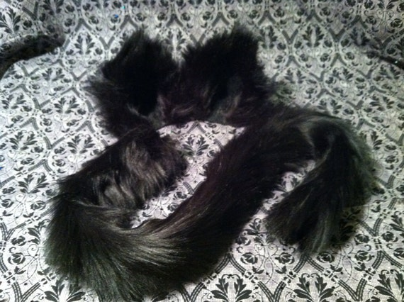 Kitty Cat Ears Clip On / Barrettes / Black Or White / With Or Without Kitty Cat Tail / Costume / Cosplay / Wolf by Etsy