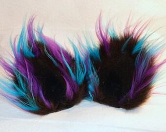 Cat Ears Tri color / 3 color / Cosplay / Cat Ear Clips / Black Purple Blue / Cat ear / Cat Ears Costume