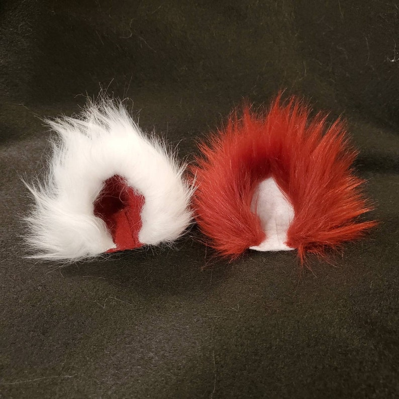 Todoroki inspired Red and White Kitty Ears  Cat Ear Clips  Cat Ears and Tail  My Hero Academia