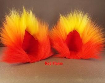 Cat Ears Flame Cosplay / Cat Ear Clips / Yellow Red Orange / Cat ear Headband / Cat Ears Costume