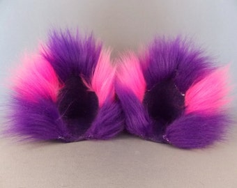 Cheshire Cat Pink and Purple Cat Ear Clips With or Without Tail