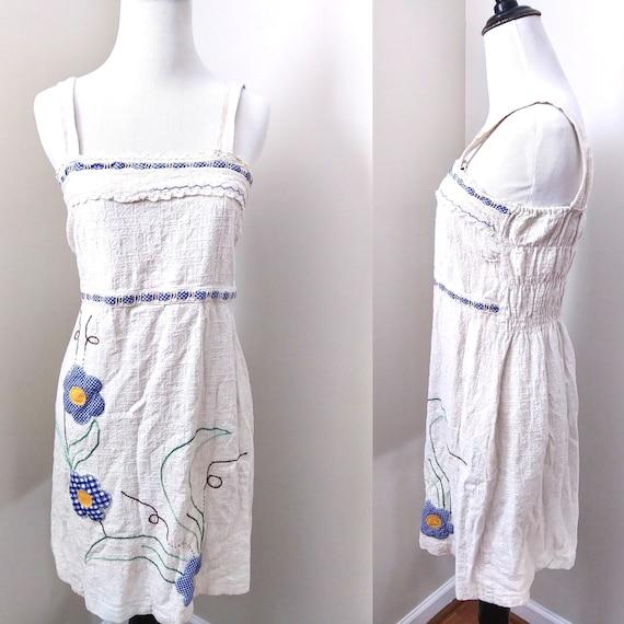 1970s Handmade Flower Child Simple Summer Dress