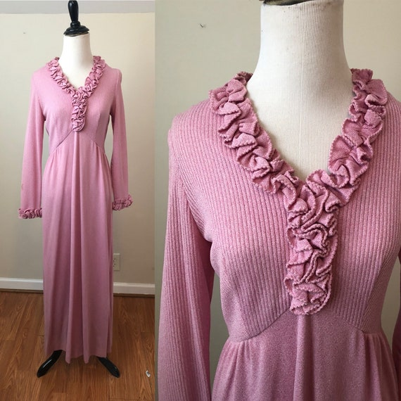 50% OFF 1970s Mauve Semi Formal Maxi Dress