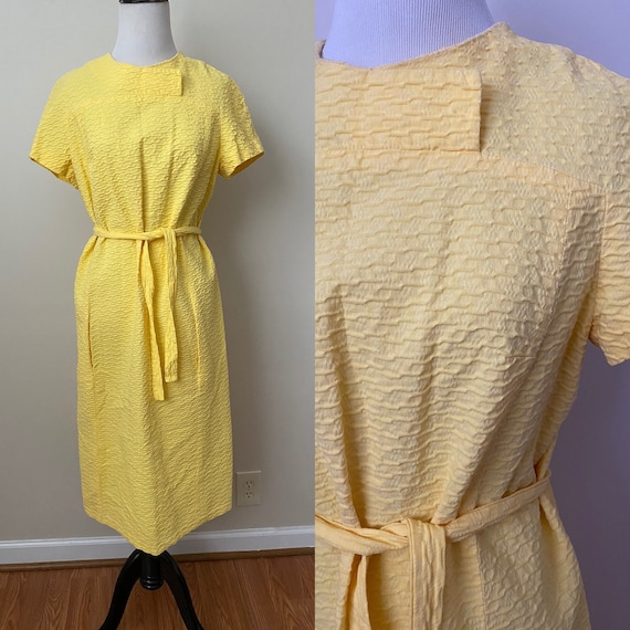 Bright Yellow Vintage Dauphine Polyester Dress