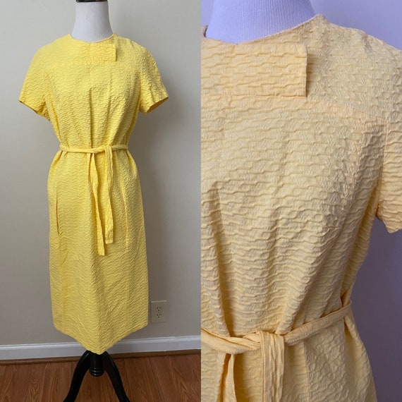 Bright Yellow Vintage Dauphine Polyester Dress - image 1