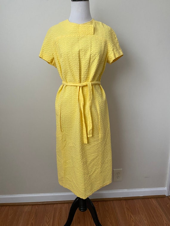 Bright Yellow Vintage Dauphine Polyester Dress - image 5