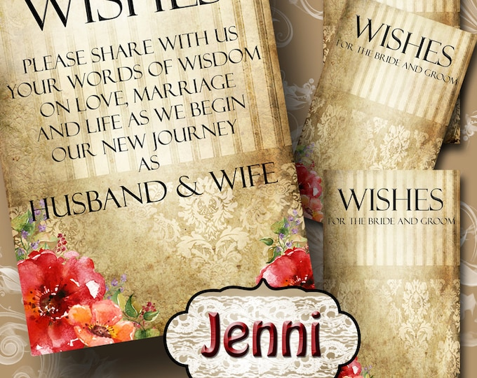JENNI• Set of Wedding Wish Sign and Tags•Wish Tree Cards•Wedding Wish Tags•Wish Tags•Bridal Shower•Wedding Shower•Country Wedding